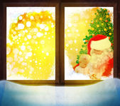 Vektor jultomten genom fönstret. god jul! — Stockfoto