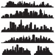 Set of vector cities silhouette - Stock Vector