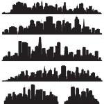 ensemble de la silhouette de villes vectoriels — Vecteur #21205275