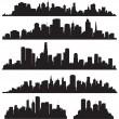 Set of vector cities silhouette — Stock Vector #21205275