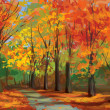 Vector of autumn landscape, pathway in park. — Stock Vector