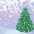 Royalty-Free Stock Vector Image: Christmas tree and decorations on winter background.
