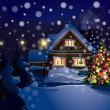 Vector of Christmas scene, snowfall is in separated layer. - Stock Vector