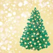 Christmas tree on golden background, greeting card. - Stock Vector