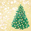 Christmas tree on golden background, greeting card. — Stock Vector