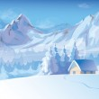 Vector of winter landscape with mountains and cote covered of snow. — Stockvektor