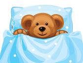 Vector of cute baby bear in bed. — Stock Vector