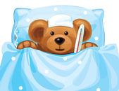Vector of sick baby bear with thermometer in bed. — Stock Vector