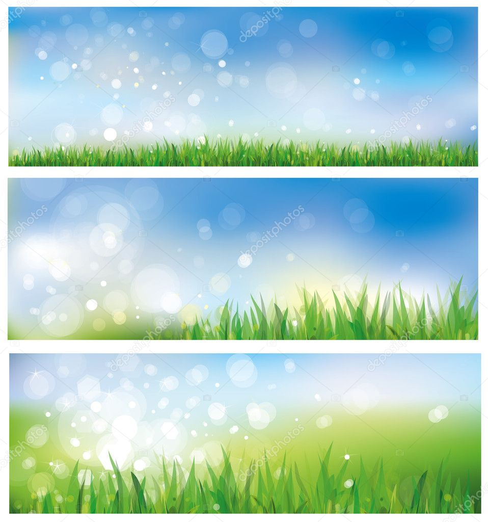 Vector of spring background, sky and grass. — Stock Vector ...
