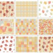 Seamless autumn patterns. - Stock Vector