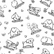 Seamless pattern of funny animals for baby design. - Stok Vektr