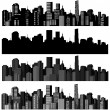 Set of vector cities silhouette - Stok Vektör
