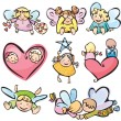 Vector de stock : Cute angels for your design.