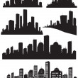 Set of vector cities silhouette — Stock Vector #21462007