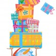 Funny snowman with gifts for design. — Imagen vectorial