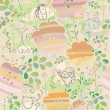 Seamless floral pattern with animals for kids design. — Stock Vector