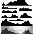 Silhouettes of mountain for design, all elements of rocks and forest are seamless — Stock Vector