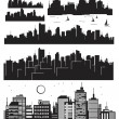 Set of vector cities silhouette — Stock Vector #21462053