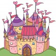 Vector of fairy tale castle for girl. — Stock Vector
