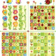 Seamless cute patterns and elements for spring design. — Stock Vector