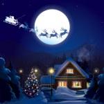 Santa Claus Sleigh, vector — Stock Vector