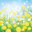 Vector of spring background with white dandelions. — Stock Vector #21462195