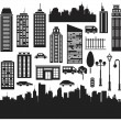 Vector silhouettes for city's design - Stock Vector