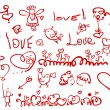 Vector de stock : Hand drawing love's elements