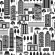 Seamless pattern of city. — Stockvektor