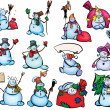Big set of fun snowmen for design. — Stock Vector
