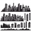 Set of vector cities silhouette and elements for design. - Stock vektor