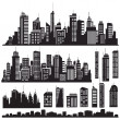 Set of vector cities silhouette and elements for design. - Vettoriali Stock