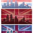Stock Vector: Vector of British flag grunge background with London city