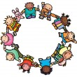 Circle of happy children different races. — Stock Vector