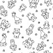 Seamless pattern of cute animals. - Stockvektor