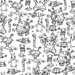Seamless pattern of little monsters. — Image vectorielle