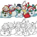 Fun snowmen for Christmas design. — Stock Vector #21462633