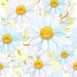 Seamless pattern of white camomiles — Imagen vectorial