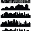 Set of vector cities silhouette — Stock Vector #21464627