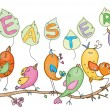 Cute birds for Easters and spring's design — Vecteur