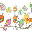 Cute birds for Easters and spring's design — Stock vektor