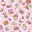 Seamless pattern of cupcakes for sweet design. — Stock Vector