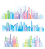 Colorful panorama of cities. — Stock Vector