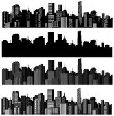 Set of vector cities silhouette — Stock Vector