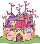 Vector of fairy tale castle for girl. — Stock Vector