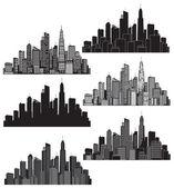 Uppsättning vektor städer siluett — Stockvektor