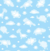 Seamless cute pattern of sky with funny toy clouds. — Stock Vector