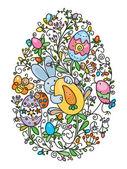 Easter egg shape covered of fun pattern for Easter's, kid's design — Vettoriale Stock