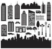 Vector silhouettes for city's design — Stockvector