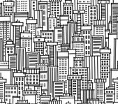Seamless pattern of city — Stock Vector